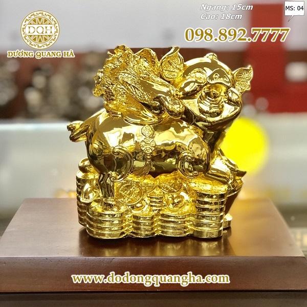 tượng heo bằng đồng mạ vàng