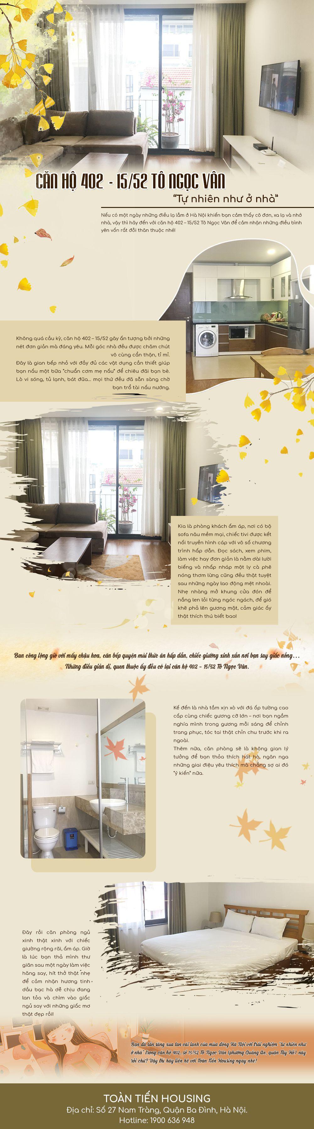 Căn hộ 402 - 15/52 Tô Ngọc Vân - mang đến cảm giác tự nhiên như ở nhà cho mọi du khách